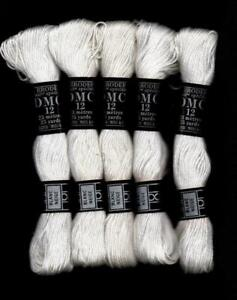 Lot of 5 DMC Blanc Coton Broder 12 Whitework Discontinued Floss 25yds ea