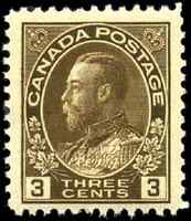 Canada #108c mint F-VF OG LH 1923 King George V 3c brown Admiral Dry Printing