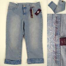 NWT GLORIA VANDERBILT Jordyn Capri Jeans 10P Mid-Rise Light Wash Printed Cuff