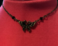 """Black Chain Anklet With Butterfly & Rhinestones 10"""" Fully Adjustable"""