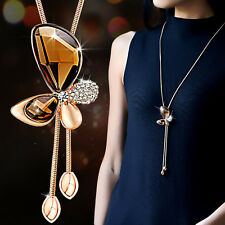 Crystal butterfly necklace rose gold wedding birthday holiday mum lady  (0759)