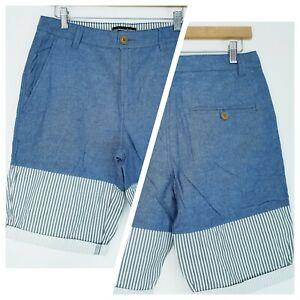 ❤️CEDAR WOOD STATE blue light denim striped chino shorts size W30 1277