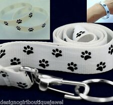 Dog Cat Paw Print Bracelet & Lanyard ID Badge Key Chain Ring White Gift Set