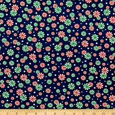 Merry Christmas Basics Peppermint Candy  Cotton Fabric By the Yard  Bfab