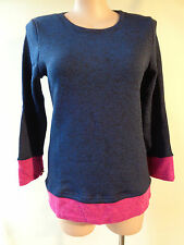 EVERSUN New blue pink trim knit top size 14 NWT long sleeves