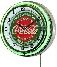 "18"" Drink Coca-Cola Thirst Quenching Coke Sign Double Neon Clock"