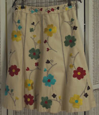 """LAURA ASHLEY Brushed Cotton Floral Embroidered Gored Flared Skirt UK10 29"""" Waist"""