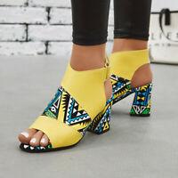 Retro Ladies Printing Peep Toe Slingback Sandals Block Heels Casual Party Shoes