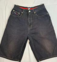 Mens VTG 90s Tommy Hilfiger Jeans Sz 30 Spellout Logo Hip Hop Black Denim Shorts