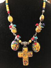 "Yellow Mosaic Jasper Necklace & Cross Pendant. 25"""