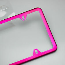 New 4 Hole Candy Hot Pink Slim License Plate Stainless Steel Frame Car Suv Truck