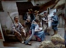 Needlepoint Picture, Large, Man And Women Sitting, Other Men Gathering