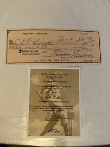 TED WILLIAMS Autographed Signed CHECK Hunt Auctions Red Sox Authentic COA 11-7
