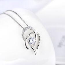 OPEN HEART NECKLACE PENDANT W/ 3.50 CT BAGUETTE DIAMOND/18'/ 925 STERLING SILVER