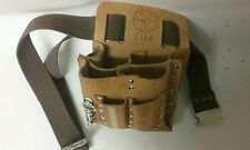 Klein Tools Electrician's Leather Pouch Belt 8-Pocket Extra Capacity