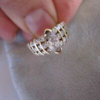 10k Yellow Gold Finish 2.75 Ct Marquise Diamond Vintage Engagement Wedding Ring