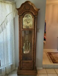 Vintage Howard Miller Grandfather Clock w/ Second Hand 610-344 Works Great!
