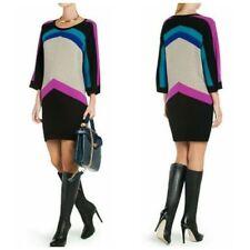 BCBG MAXAZRIA Faiza Cashmere bl Oversized Color Blocked Tunic Sweater Dress xs 1
