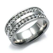 New 15PCs Silver 2 rows full rhinestone stone stainless steel Jewellery Rings