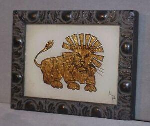Vintage Folk Art Reverse Painting Glass Tinsel Foil Art LION nice frame, signed