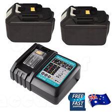 2Battery for Makita18V 6.0AH BL1830 BL1860 BL1430 BL1840+Battery Charger AU Plug