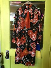Vintage 70 Wild Brady Mod Dress W Tie Black Rust Gold