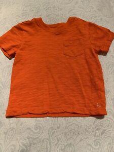 Boys JANIE & JACK SS Tee T-shirt Orange Slub Pocket 2T EUC