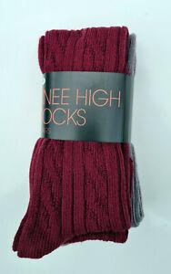 2 Pair Pack Cable Knit Knee High Socks Grey Burgundy Walking Boot Socks Size 4-7