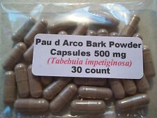 Pau d Arco Bark Powder Capsules (Tabebuia impetiginosa) 500mg.  30 count