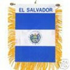 """El Salvador Mini Banner Flag 4 x 6"""" with Brass Staff & Suction Cup - New"""