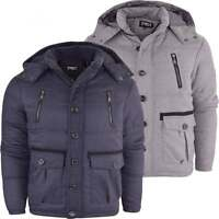 D Rock Designer Mens Hooded Quilted Bomber Hooded Coat Jacket Detachable Hood