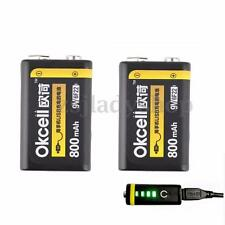 2pcs 9V 800mAh USB Rechargeable Lipo Battery for RC Helicopter Model Microphone