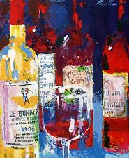 LEROY NEIMAN BOOK PRINT WINE BOTTLES PRESTIGE LABELS RED WINE GLASS WHITE & RED