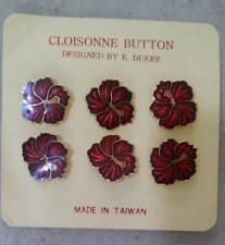 "CLOISONNE RED GOLD FLOWER DESIGN SHANK BUTTONS Designed by E. Duerr 3/4"" (B14)"