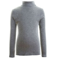 GIRLS KIDS RIBBED TURTLE NECK TOPS LONG SLEEVE ROLL NECK - CHOICE OF COLOURS