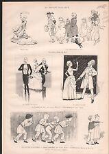 DESSINS COMÉDIE DU JOUR LUCIEN BIART CARAN D'ACHE  1886 GRAVURE ANTIQUE PRINT