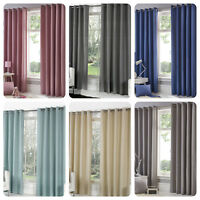 Fusion SORBONNE Eyelet Top Curtains Living Room Bedroom Lined Ready Made Pair