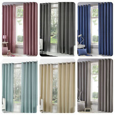 Fusion SORBONNE - Plain Colour 100% Cotton Lined Eyelet / Ring Curtains