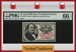 TT FR 1308 25 CENTS FIFTH ISSUE FRACTIONAL GREEN BACK LONG, THIN KEY PMG 66 EPQ