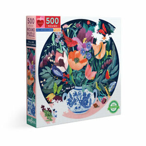 eeBoo 500 Pc Round Puzzle – Still Life Flowers Family Puzzle 04391