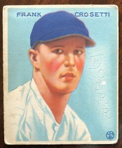 1933 Goudey #217 Frank Crosetti. Erased lettering Rounded corners.