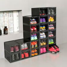 Mens Shoes Box Plastic Stackable Sneaker Container Storage Heavy Duty Organizer