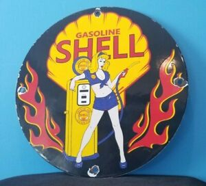 VINTAGE SHELL GASOLINE PORCELAIN GAS SERVICE STATION SHELL CLAM & FLAMES SIGN