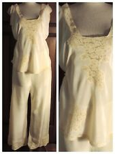 New listing Vtg 30s 40s Glamorous Silk Pajamas Embroidered Lace Pants & Top Large