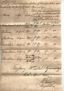1815 W Ewer's chart of 6 lifers in Mymensing Jail sentenced transportation EIndC