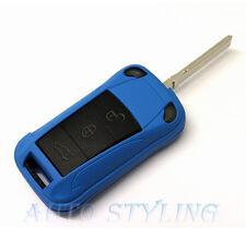 BLUE Key Fob Cover Flip remoto caso Rivestimento ALLOGGIO SCAFO 2 3 pulsante PORSCHE 44