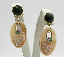 18k GOLD EARRINGS - CAMEOS ONYX RUBIES SAPPHIRES AND EMERALDS      - OGHT 0192 -