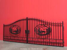 New listing Greatbear 20' Wrought Iron Style Steel Gate Deer Elk Outdoor Scenic bidadoo -New