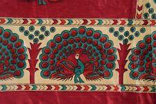 Vintage Danging Peacock Dgn Art Silk Saree Wrap Decor Printed Sari Fabric Craft