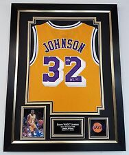 ** Rara Magic Johnson Firmado exhibición de Camisa Jersey LA Lakers autógrafo ***
